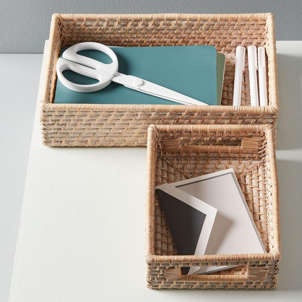 Modern Weave Basket - Whitewashed