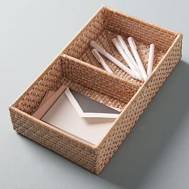 Modern Weave Basket w/ Divider - Whitewashed