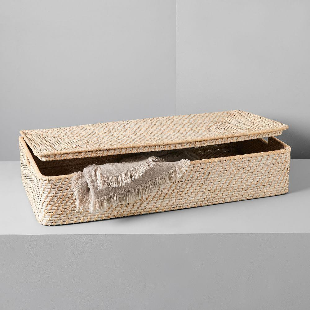 Modern Weave Underbed Storage Basket - Whitewashed