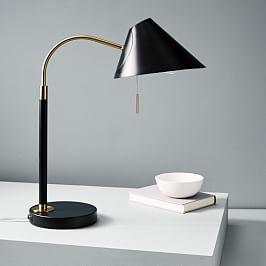 Mid-Century Task Table Lamp + USB - Black