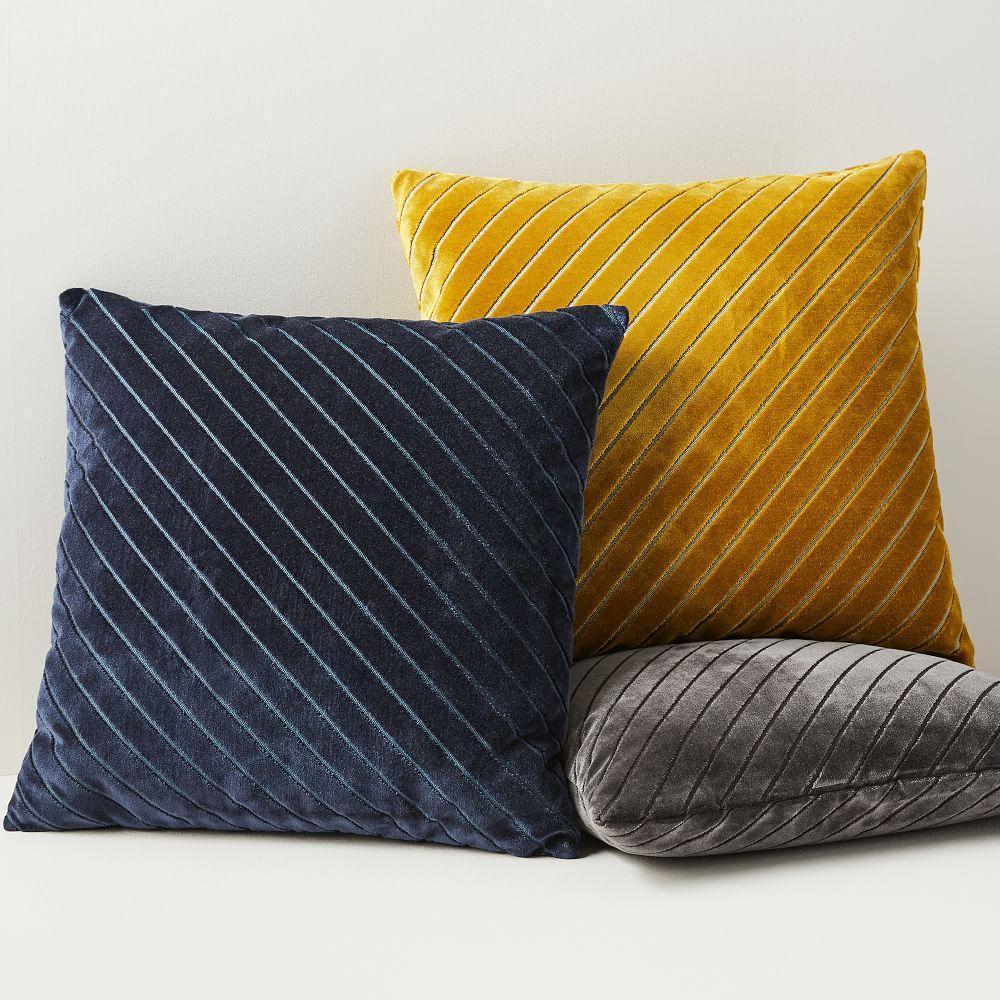 diagonal stripe velvet cushion covers west elm uk. Black Bedroom Furniture Sets. Home Design Ideas