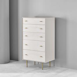 Modernist Wood + Lacquer 5-Drawer Chest - Winter Wood
