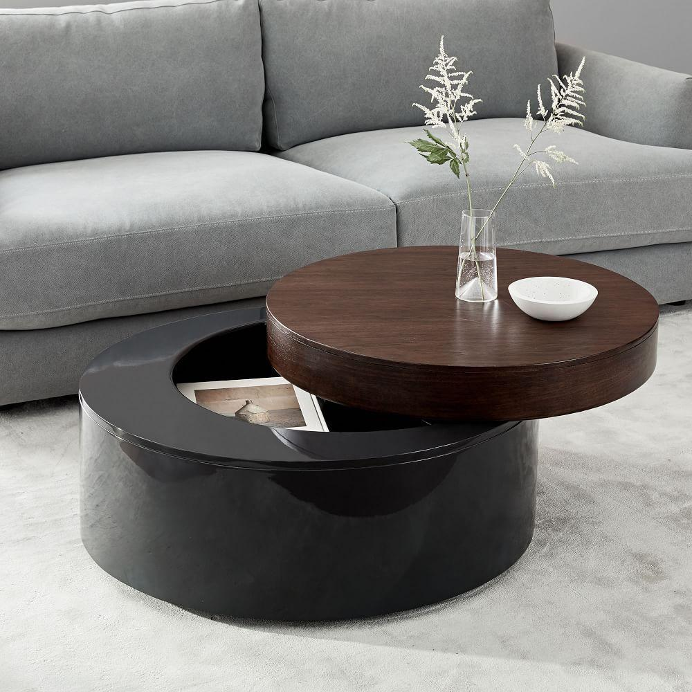 Stacked disk storage coffee table walnut anthracite