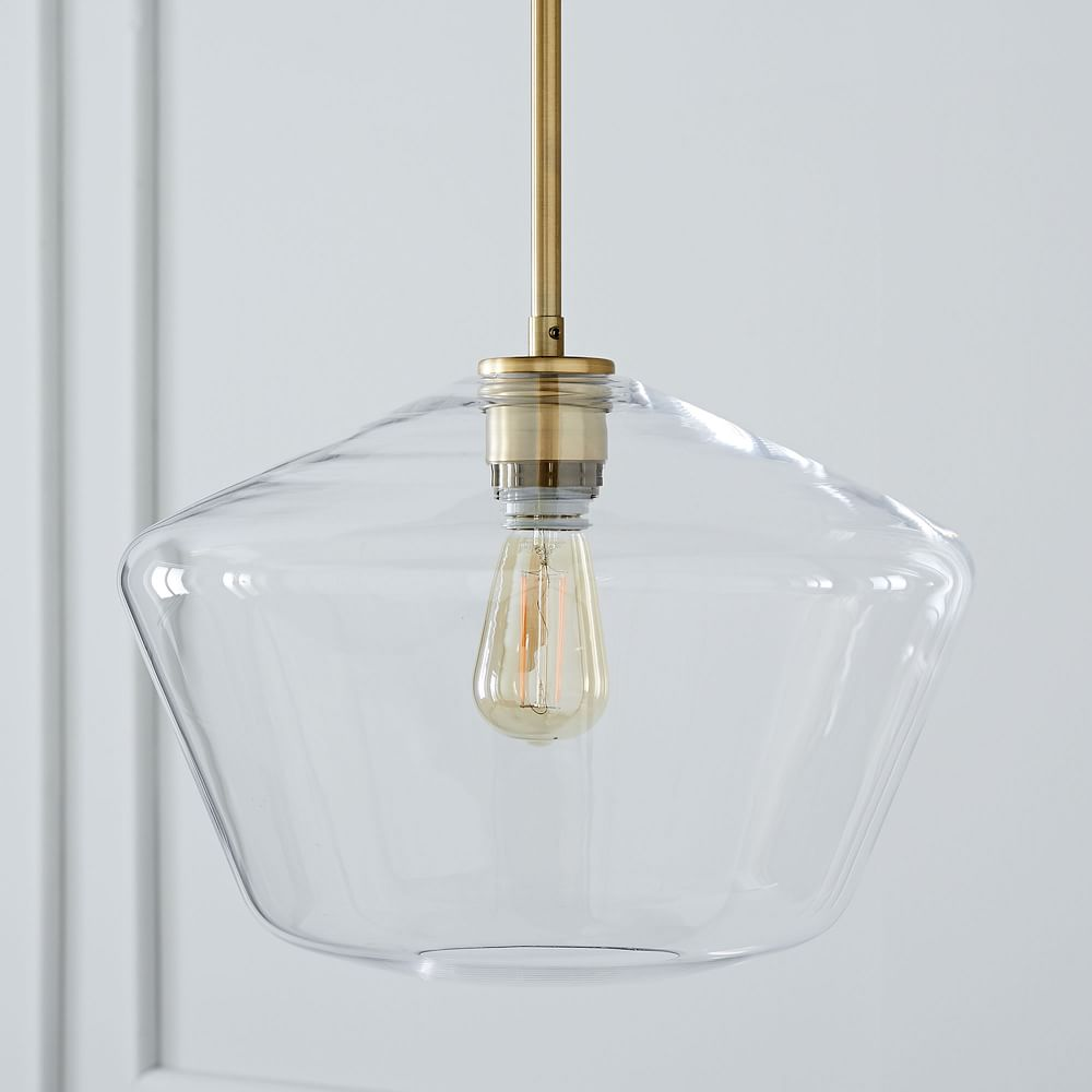 Sculptural Glass Geo Ceiling Lamp - Large (Clear)