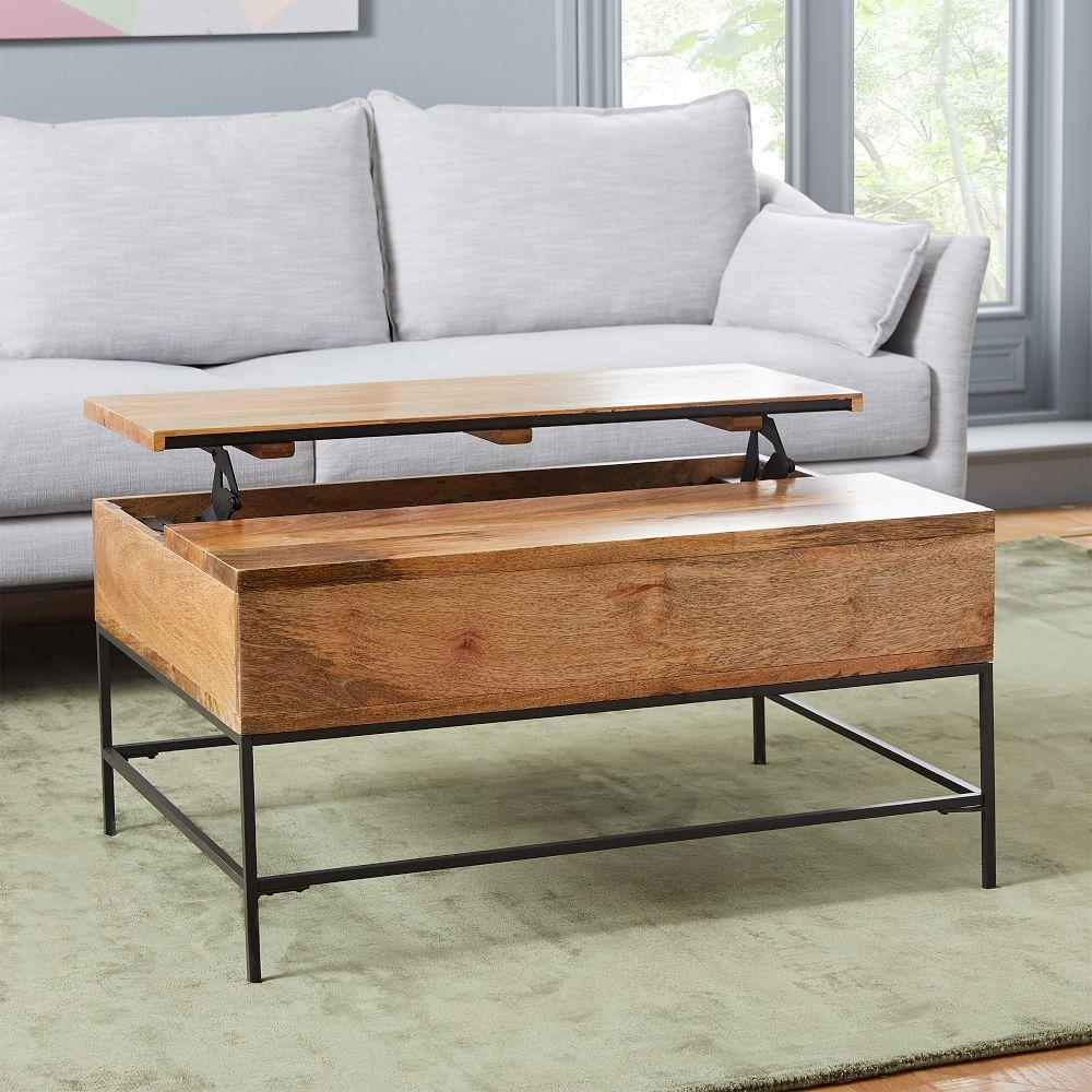 Espresso Coffee Table With Storage: Industrial Storage Coffee Table - Small (91 Cm)
