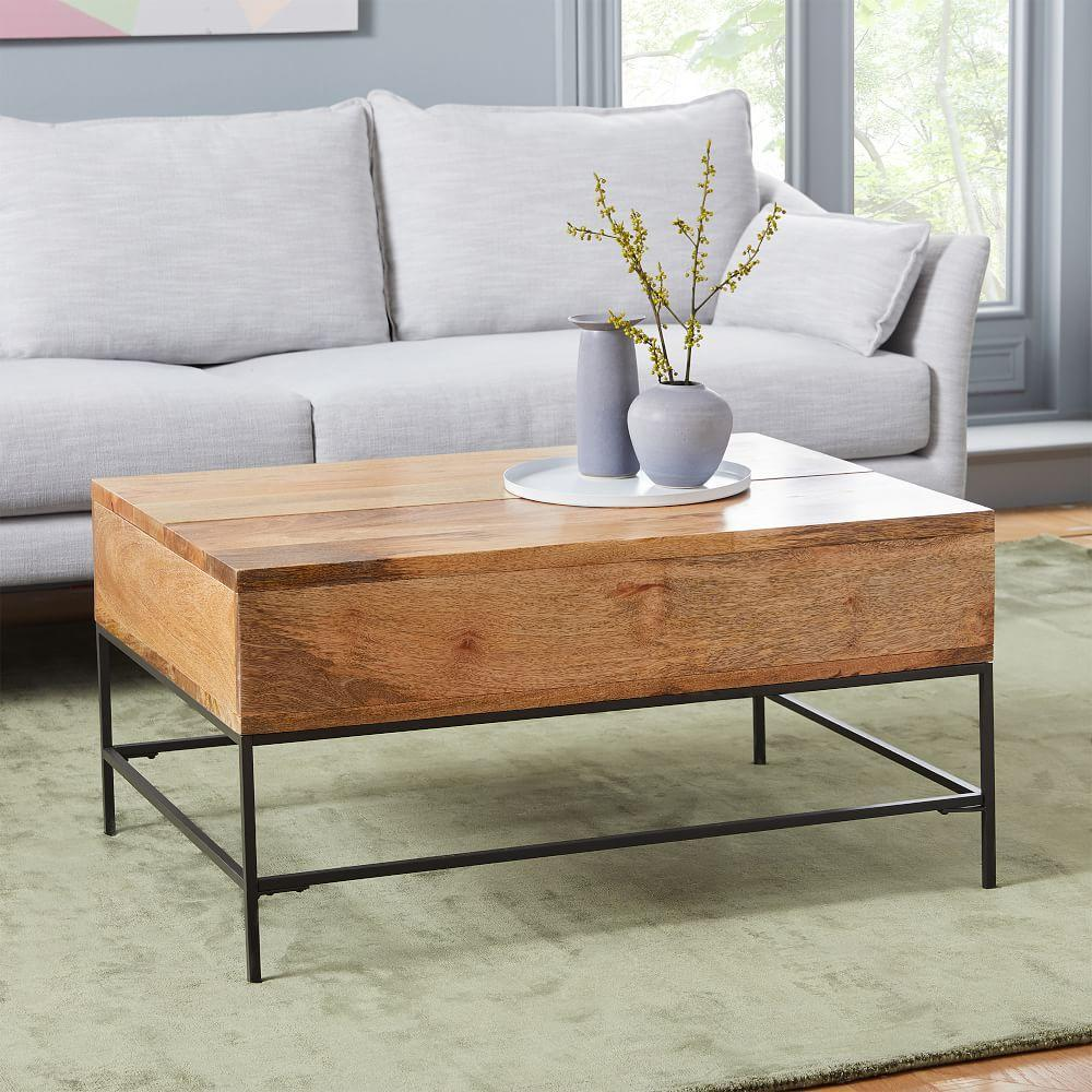 Industrial storage coffee table small 91 cm