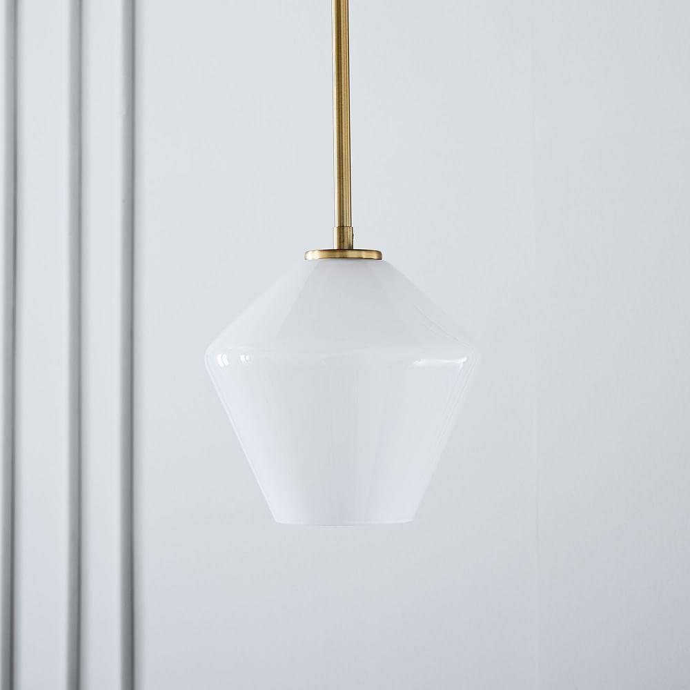 Sculptural Glass Geo Ceiling Lamp - Small (Milk)