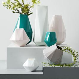 Faceted Porcelain Vases