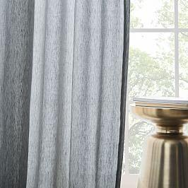 Semi-Sheer Belgian Flax Linen Melange Curtain + Blackout Lining - Slate