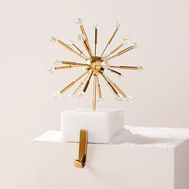 Sputnik Marble + Brass Stocking Holder
