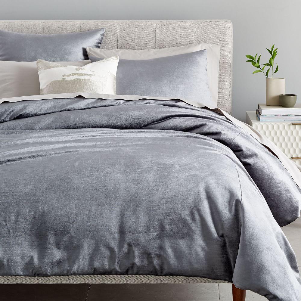 Washed Cotton Lustre Velvet Duvet Cover + Pillowcases - Pewter
