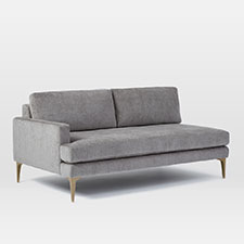 Build Your Own - Andes Sectional Pieces - Metal (Worn Velvet)