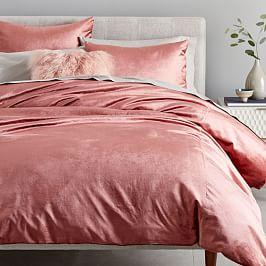 Washed Cotton Lustre Velvet Duvet Cover + Pillowcases - Pink Grapefruit