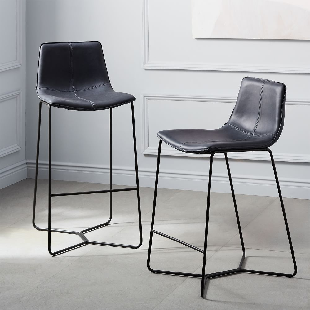 Slope Leather Bar Stool West Elm Uk