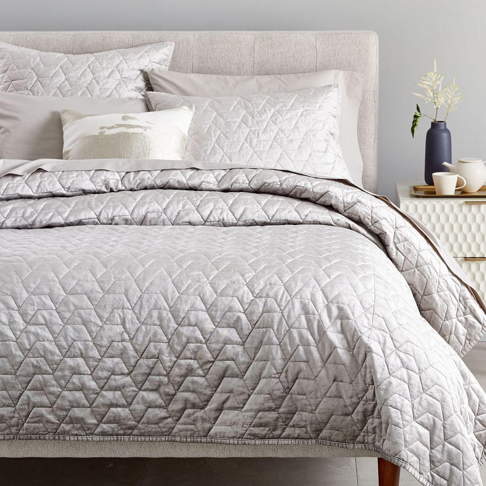 Lustre Velvet Deco Bedspread + Pillowcases - Platinum