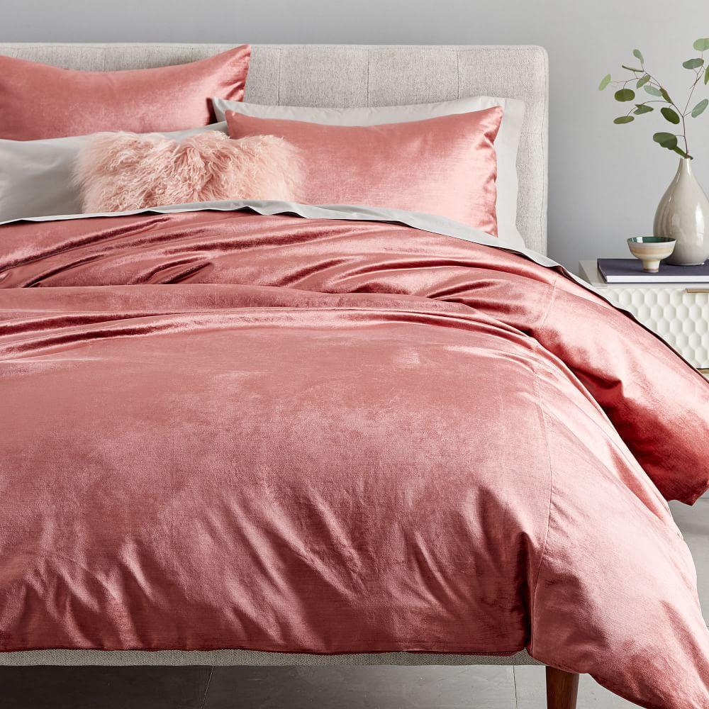 Washed Cotton Lustre Velvet Duvet Cover + Pillowcases - Pink Grapefruit