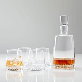 Metallic Base Decanter + Glassware Set