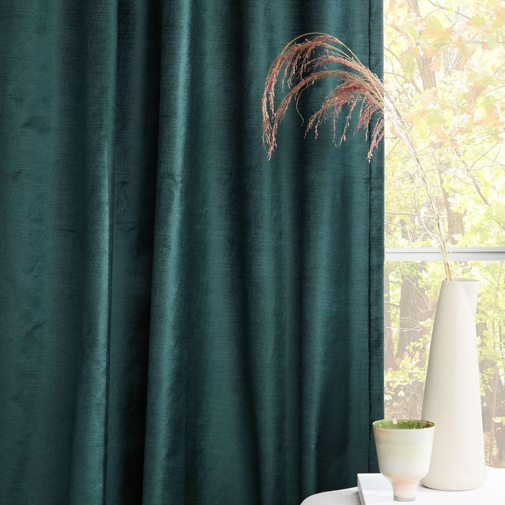 Cotton Lustre Velvet Curtain Blackout Lining Green