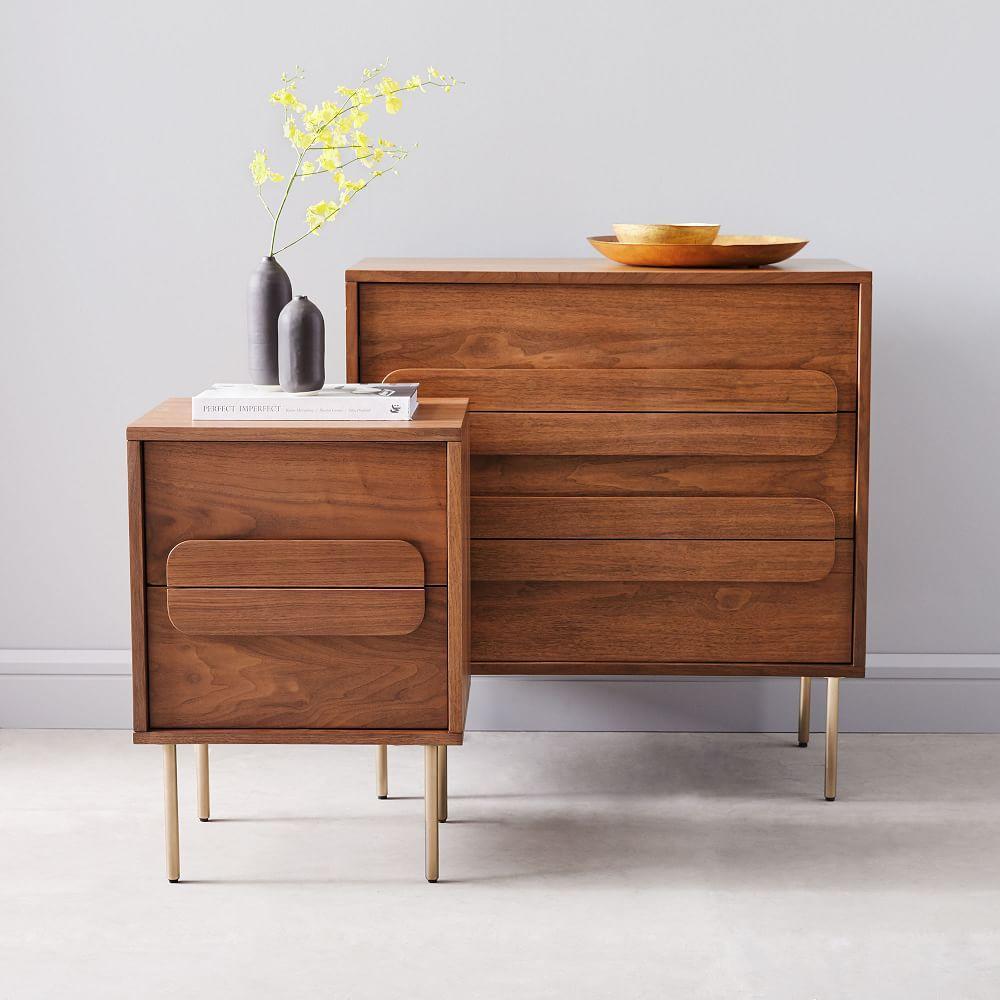 Gemini Bedside Table - Walnut