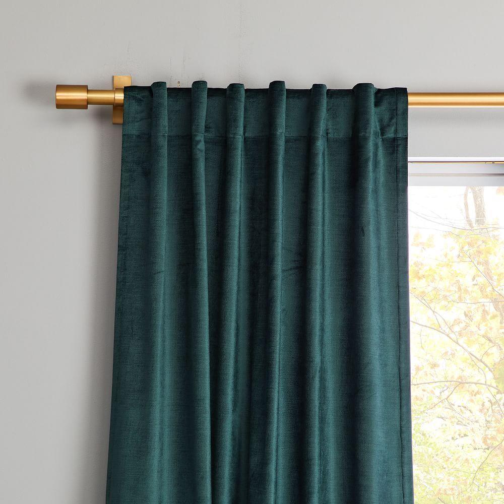 Cotton Lustre Velvet Curtain Blackout Lining Green