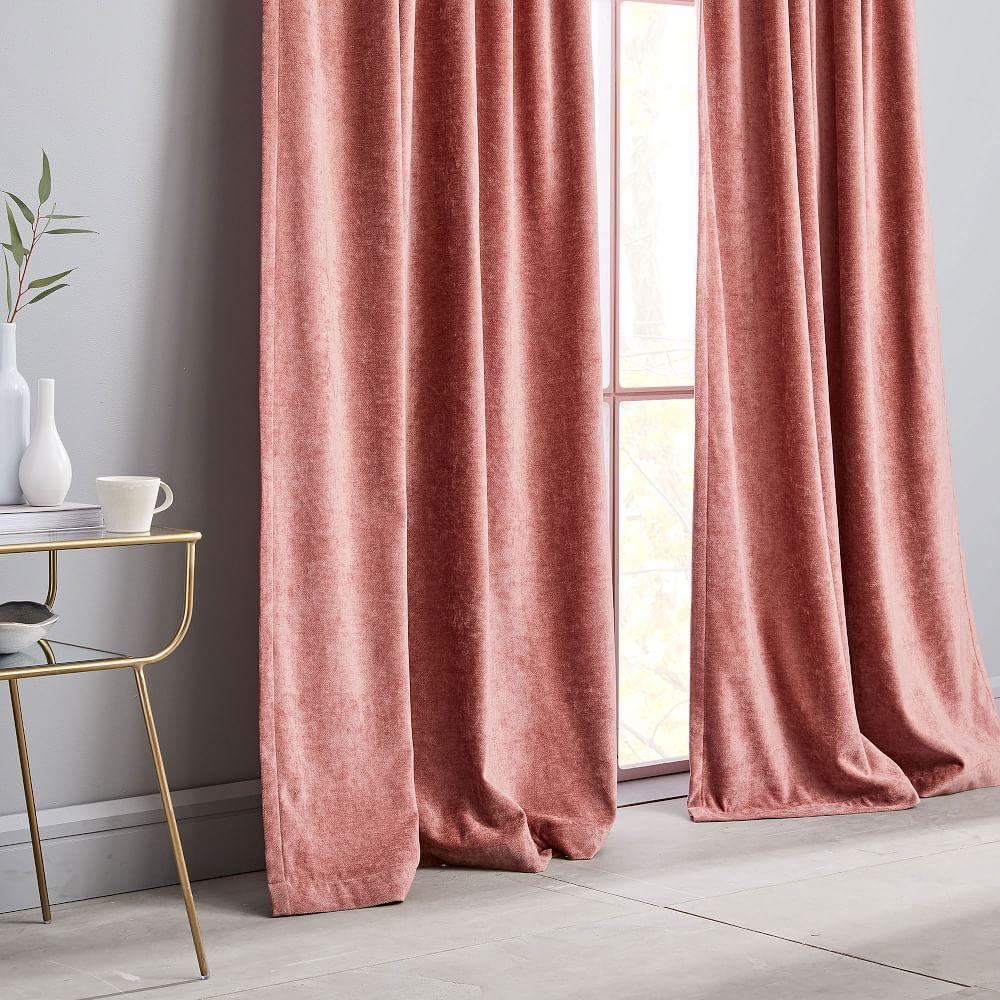 Worn Velvet Curtain + Blackout Lining - Pink Grapefruit