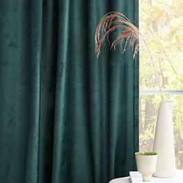 Cotton Lustre Velvet Curtain + Blackout Lining - Green Gables
