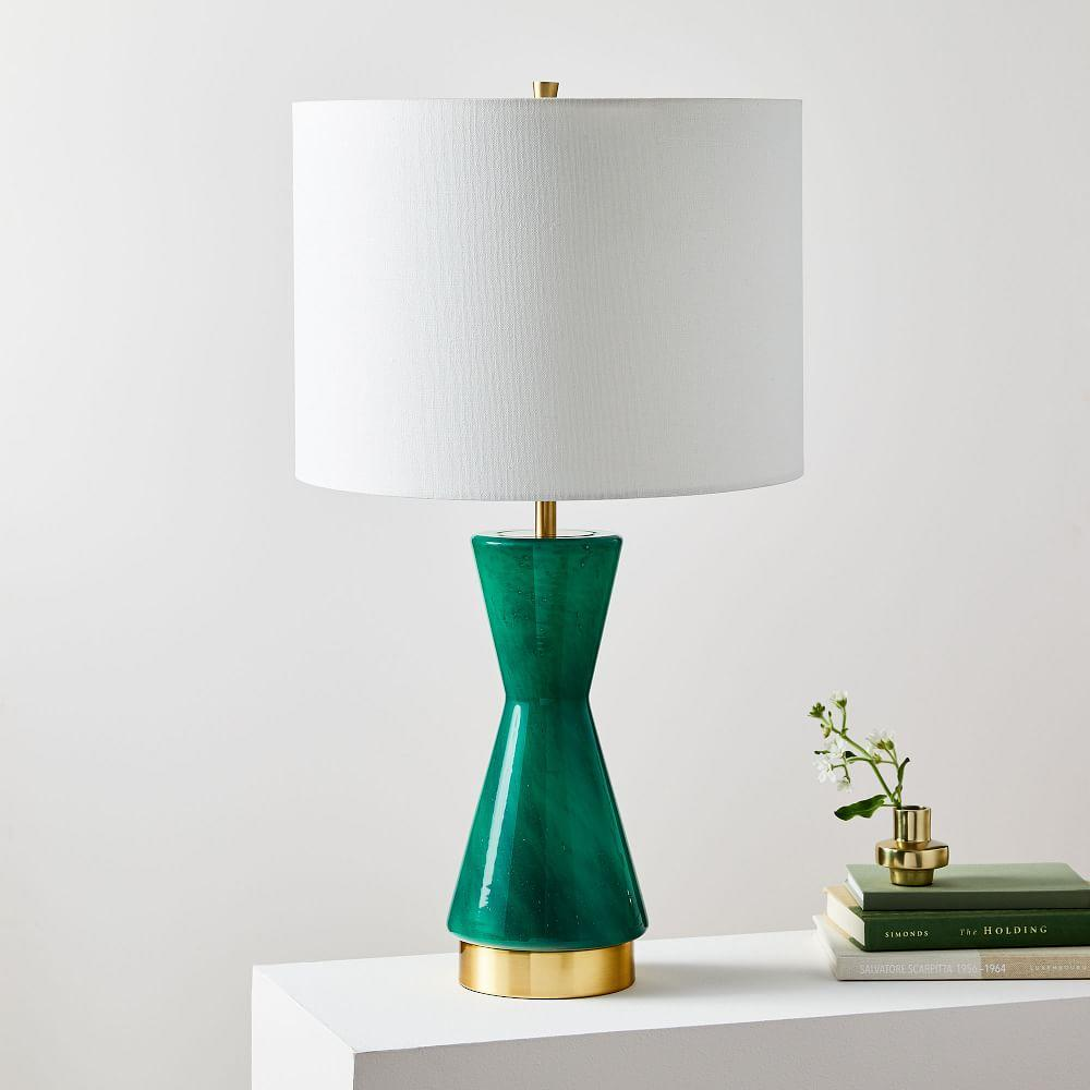 Metalised Glass Table Lamp + USB - Large (Green)