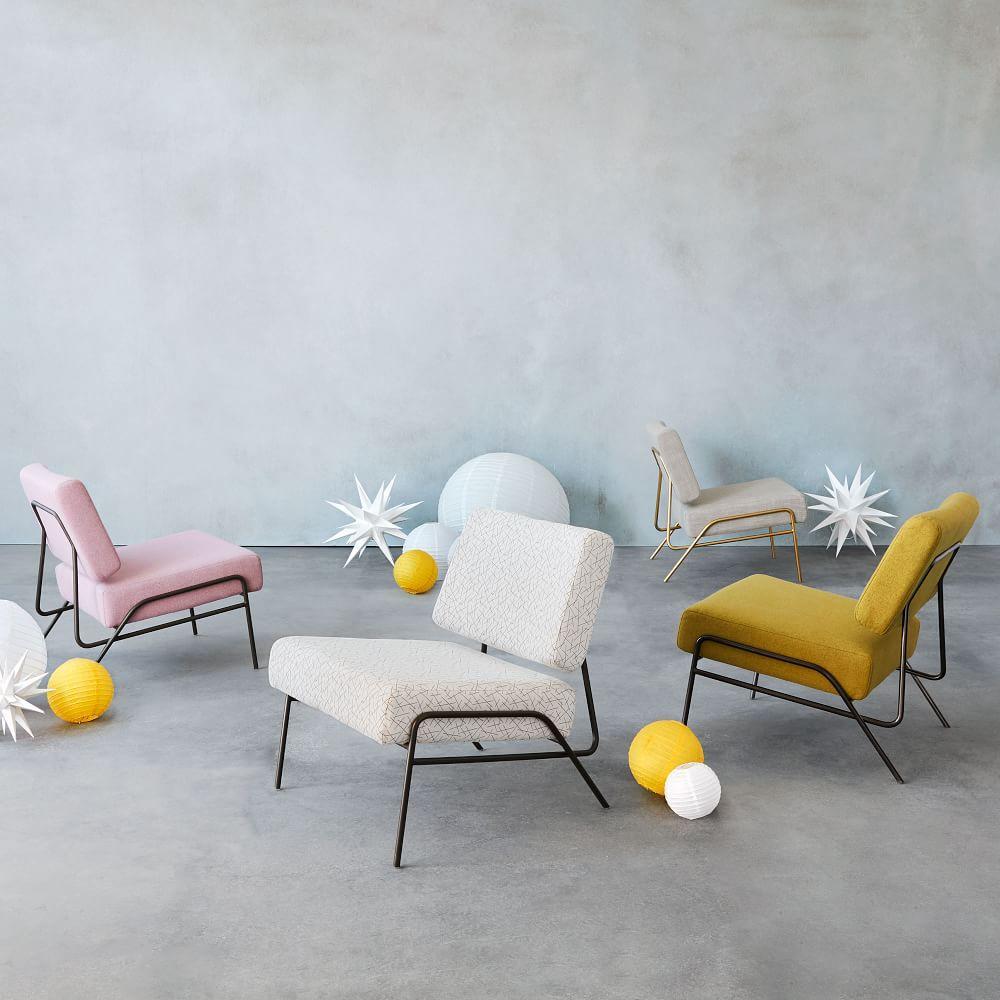 Wire Frame Slipper Chair - Platinum (Linen Weave)