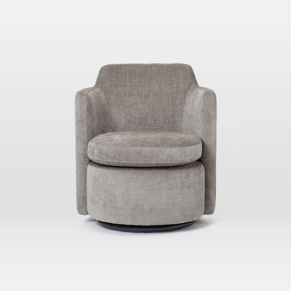 Adeline Swivel Chair Metal Distressed Velvet West Elm Uk