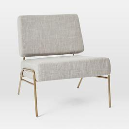 Wire Frame Slipper Chair - Platinum (Linen Weave)