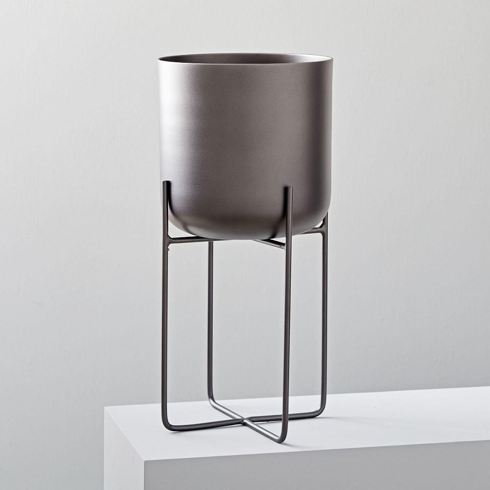 Spun Metal Standing Planters - Antique Bronze