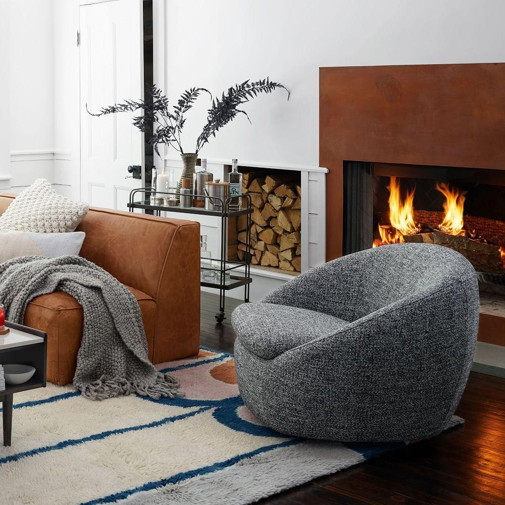Cosy Swivel Chair - Charcoal (Chunky Melange)