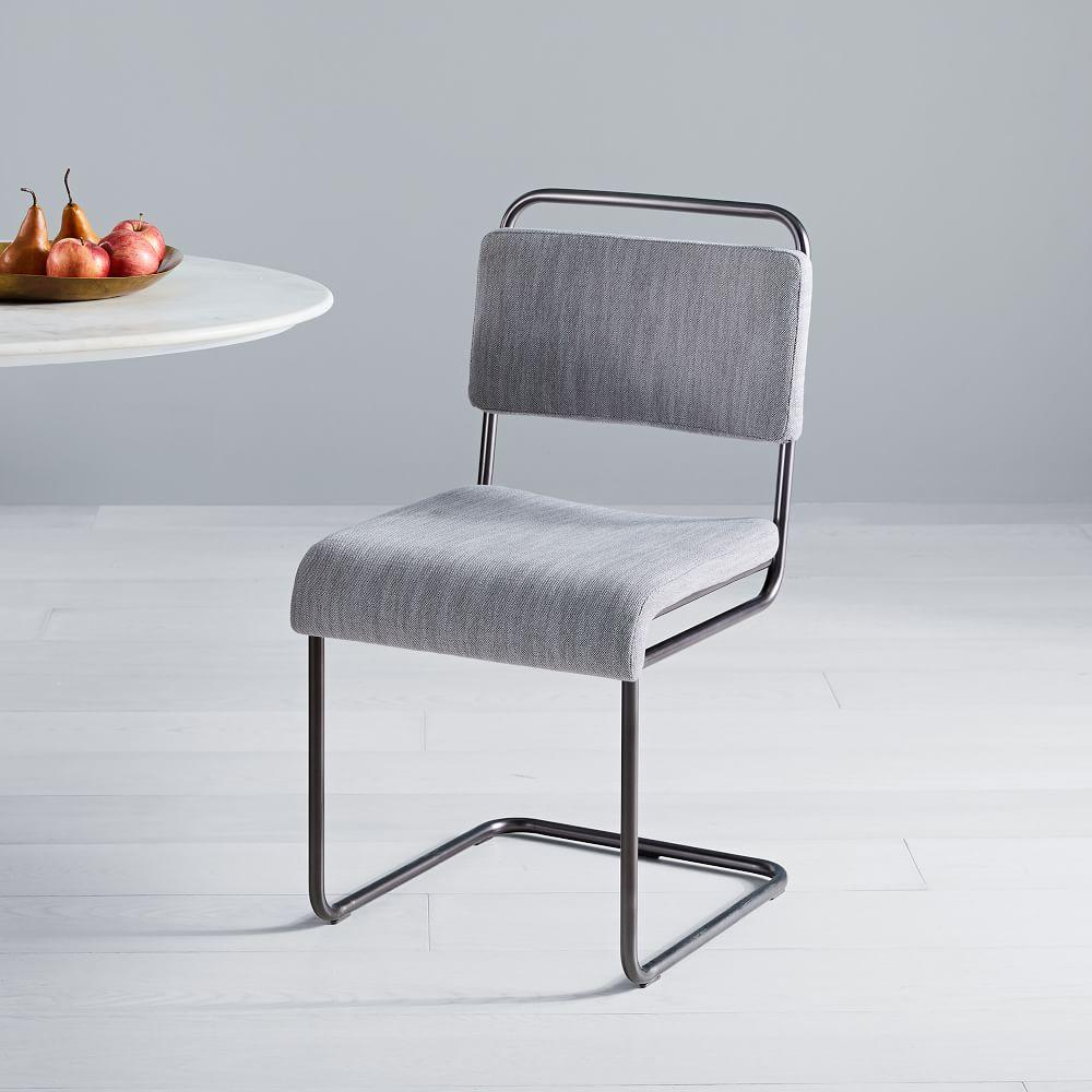 Industrial cantilever upholstered dining chair industrial cantilever upholstered dining chair
