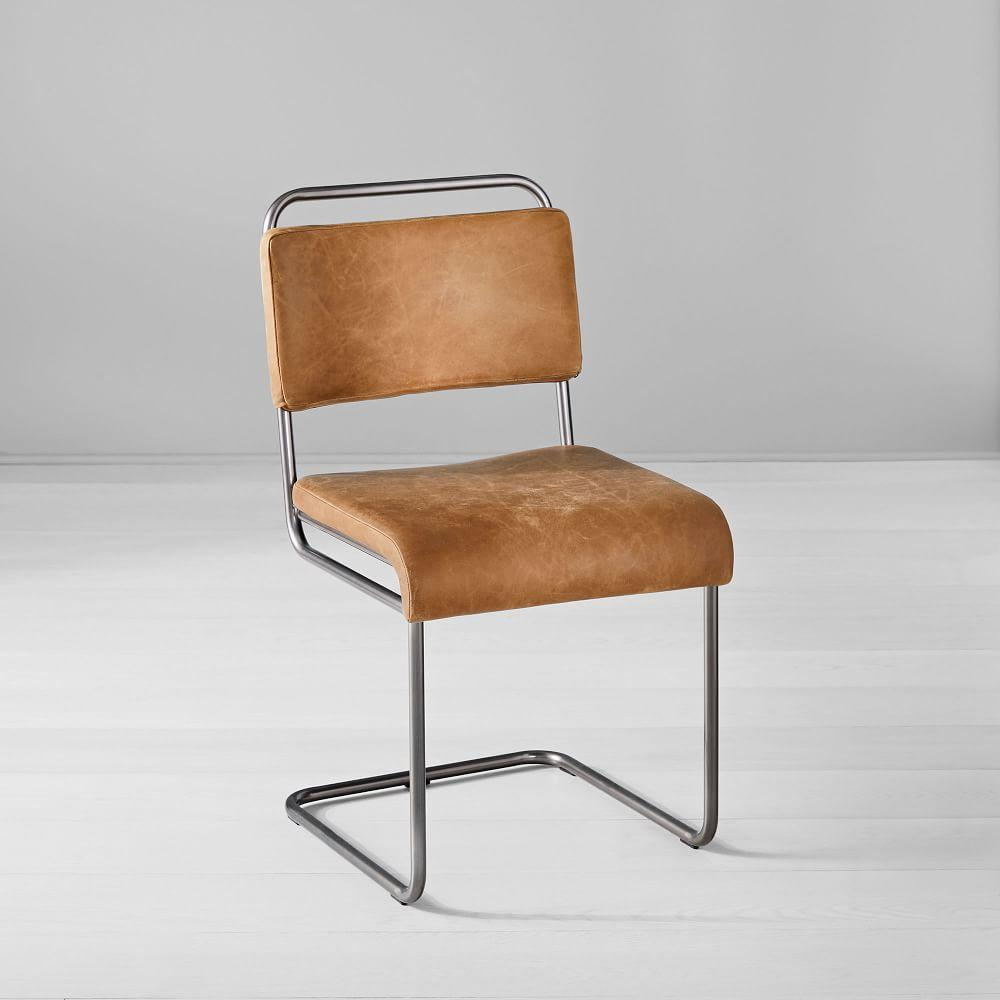 Industrial Cantilever Leather Dining Chair