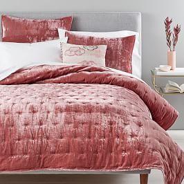 Lush Velvet Tack Stitch Bedspread + Pillowcases - Pink Grapefruit