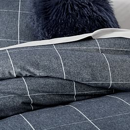 Flannel Windowpane Duvet Cover + Pillowcases - Midnight/White