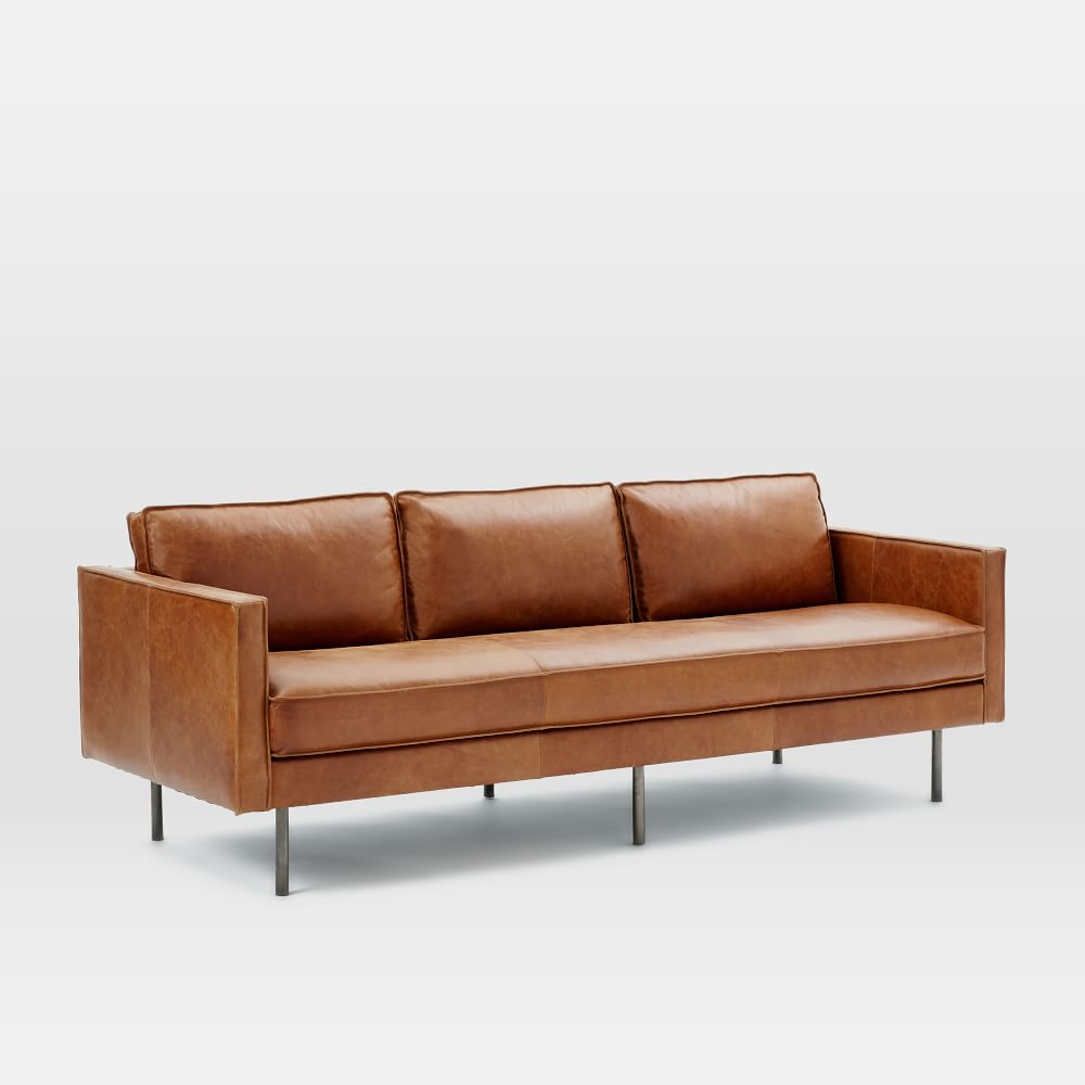 Leather Sofa Suites Uk: Axel Leather Sofa (226 Cm) - Saddle