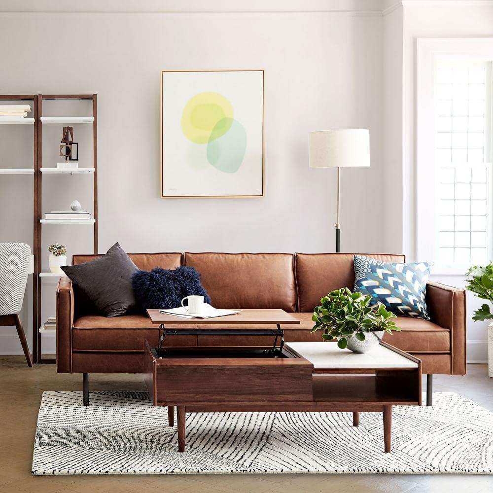 Furniture West Elm: Axel Leather Sofa (226 Cm) - Saddle