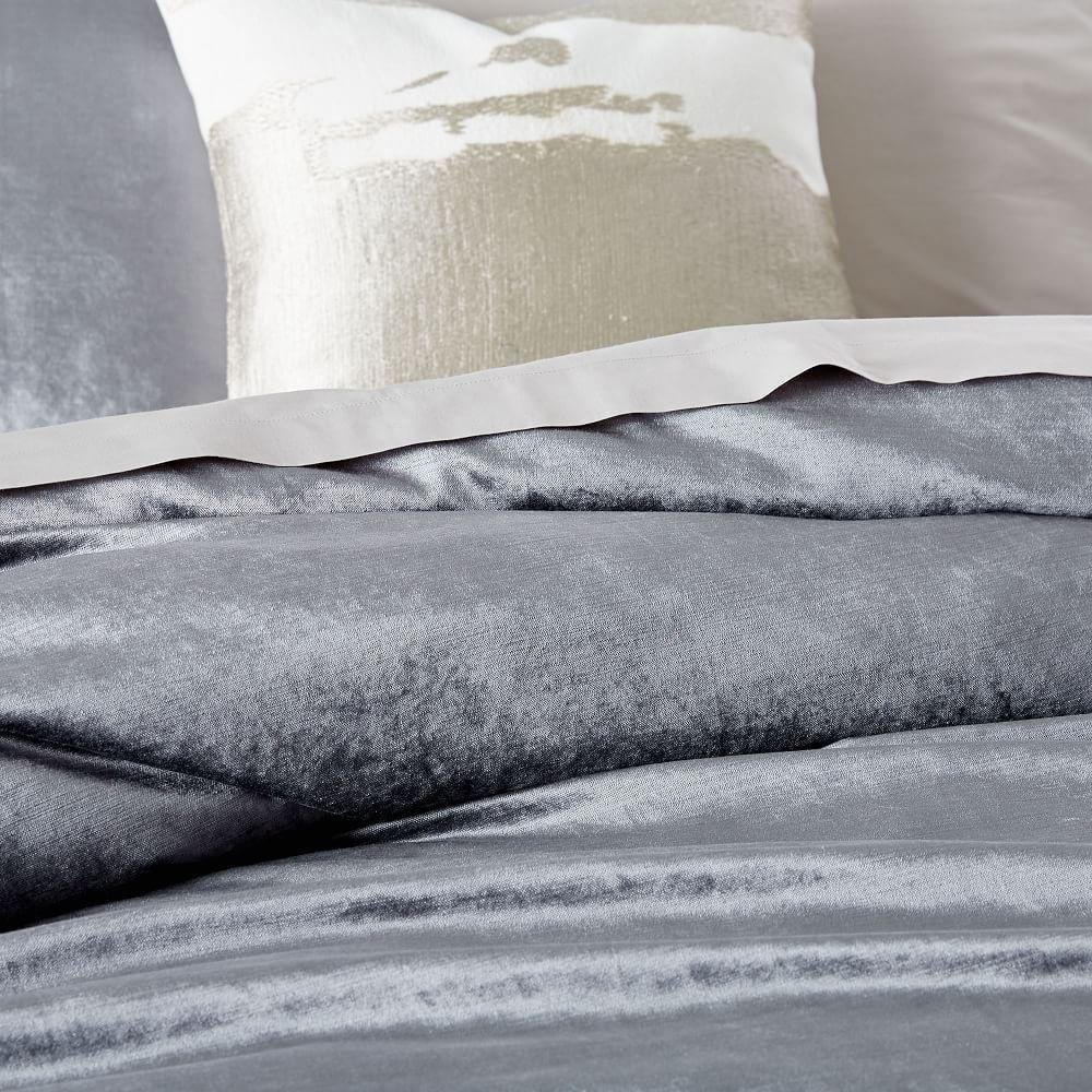 Washed Cotton Lustre Velvet Duvet Cover + Pillowcases - Pewter