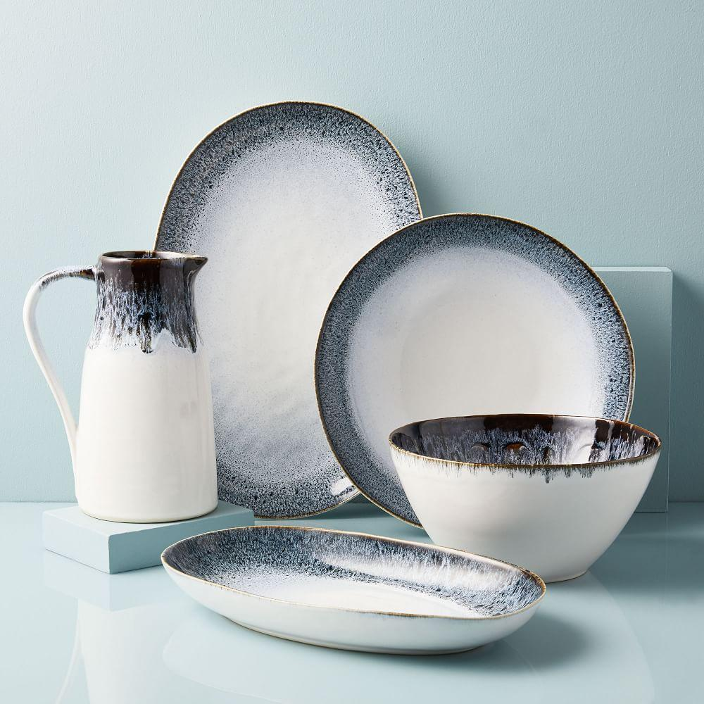 Reactive Glaze Serveware Set - Black/White