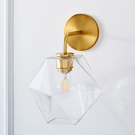 Sculptural Glass Faceted Sconce - Clear (18 cm)