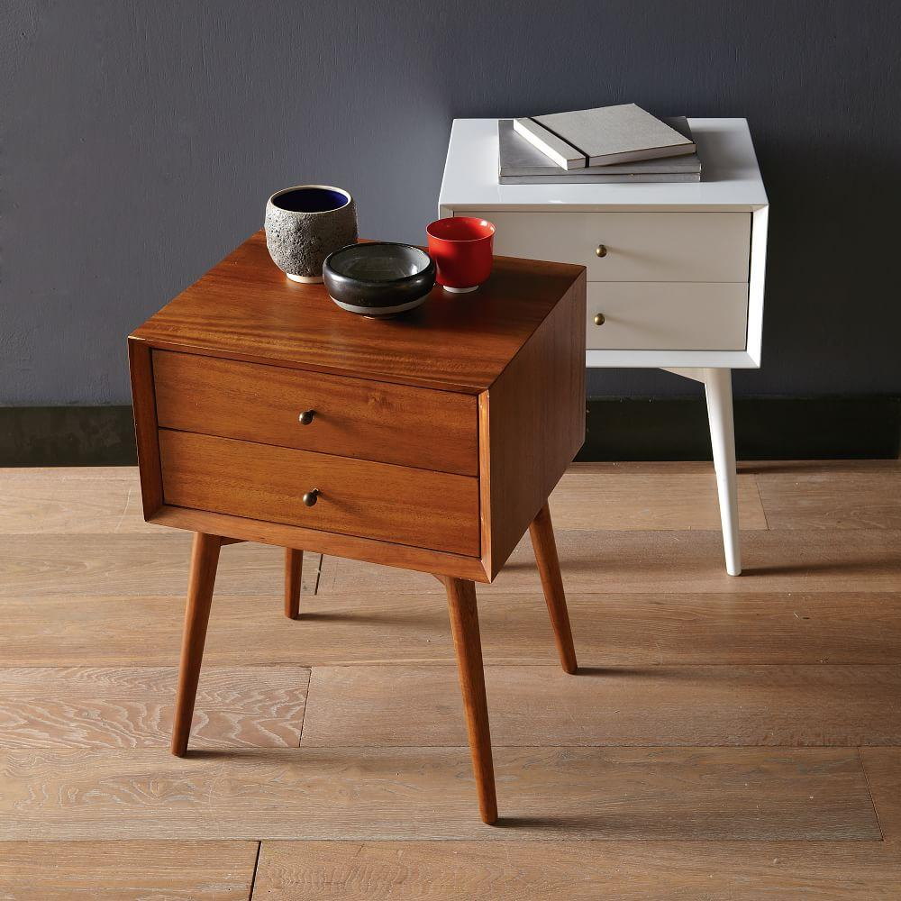 Modern Pair Of Lamp Table Bedside End Side Tables Solid: Mid-Century Bedside Table