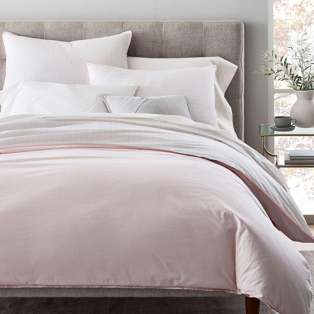 Organic Washed Cotton Stripe Duvet Cover + Pillowcases - Vintage Rose