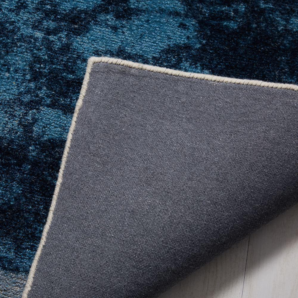 Distressed Rococo Wool Rug Blue Lagoon West Elm Uk
