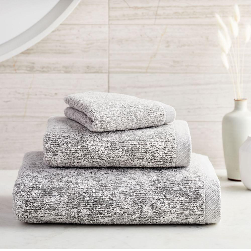 Organic Textured Towels - Grey Sky