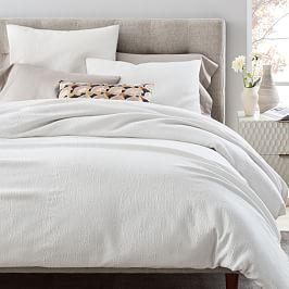 TENCEL™ Cotton Matelasse Duvet Cover + Pillowcases - Stone White