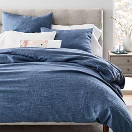 Belgian Flax Linen Fibre Dyed Duvet Cover + Pillowcases - Indigo