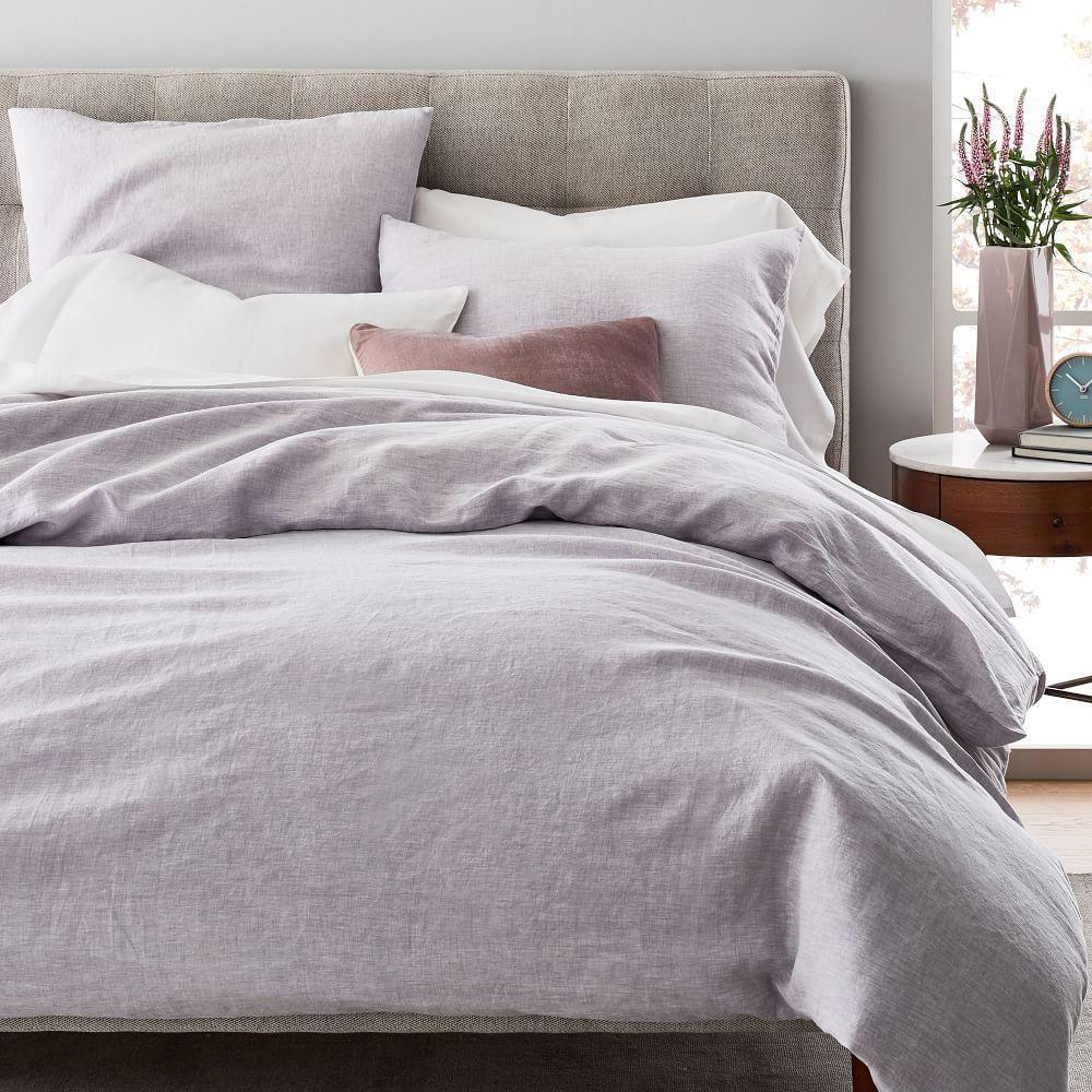 Belgian Flax Linen Melange Duvet Cover + Pillowcases - Pale Lilac