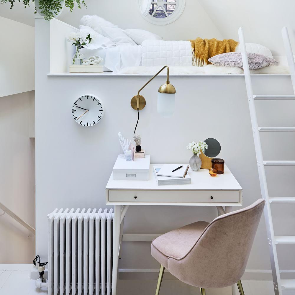 Mid-Century Mini Desk - White