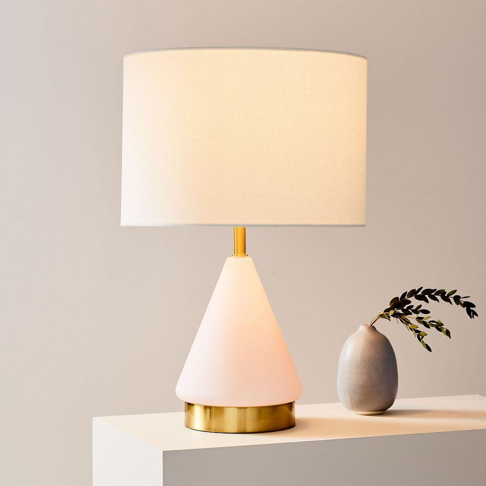 Metalised Glass Table Lamp + USB - Small (Blush)